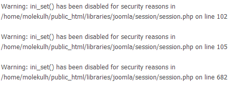 Error Warning: ini_set() has been disabled for security reasons /home/username/public_html/libraries/joomla/session/session.php