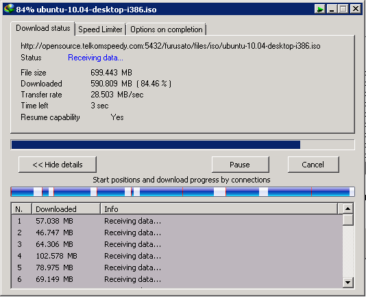 Hasil test Download menggunakan Internet Download Manager
