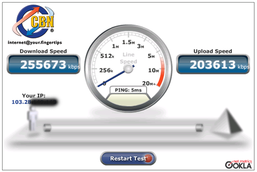 Hasil Speedtest langsung ke server CBN Indonesia