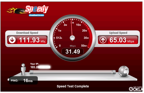 Hasil Speedtest langsung ke server Telkom Indonesia