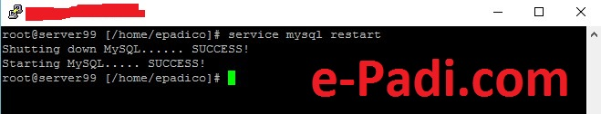 perintah restart mysql server