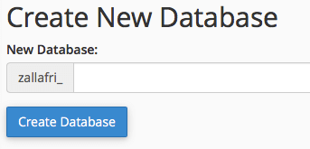 e-padi cpanel create new database