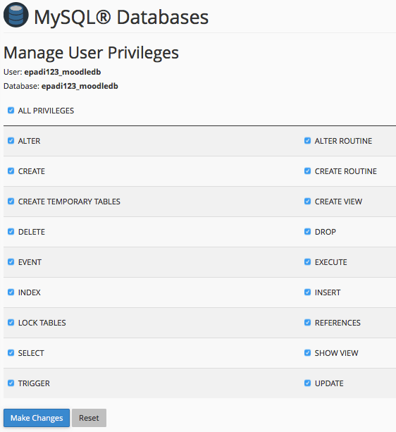 e-padi MySQL Databases Manage User Privileges