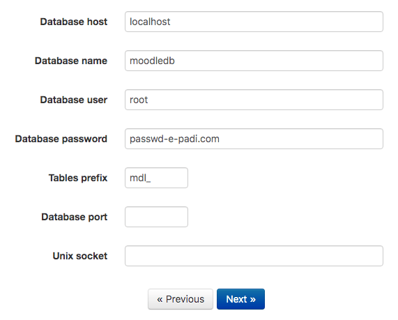 install moodle setting mysql database