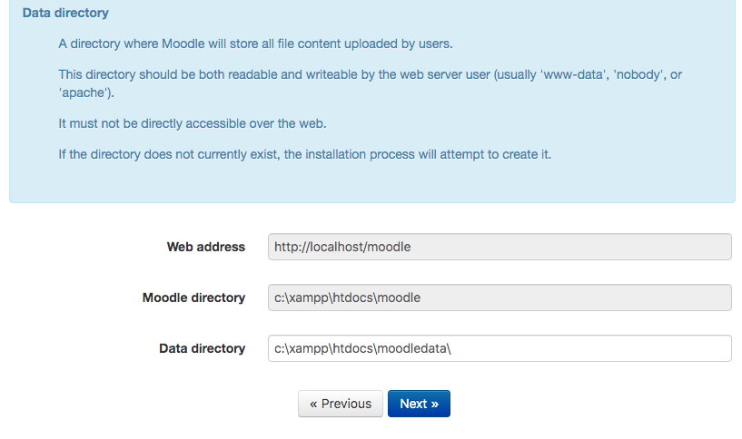 moodle data directory